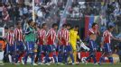 Paraguay leave the field at the end of a hugely disappointing first half
