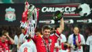 Liverpool captain Steven Gerrard celebrates with the Carling Cup trophy