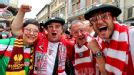 Athletic Bilbao fans get into the spirit ahead of the kick-off