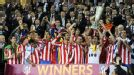 Atletico Madrid lift the Europa League trophy