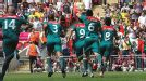 Gone in 29 seconds: Mexico celebrate taking the lead through Oribe Peralta in the final at Wemble