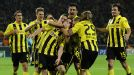 Borussia Dortmund celebrate Robert Lewandowski's late winner