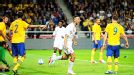 Steven Caulker celebrates after scoring on his debut for England