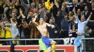 The crowd goes wild as Zlatan Ibrahimovic celebrates his stunning fourth goal against England
