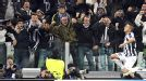 Artur Vidal celebrates with the crowd after scoring Juve's second against Chelsea