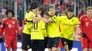 Borussia Dortmund celebrate after Mario Gotze levelled at Bayern