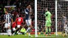 West Brom show their frustration after going behind at Manchester United to a Gareth McAuley own goal