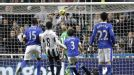 Tim Howard and the Everton defence can only look on as Papiss Cisse heads Newcastle in front