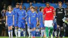 Chelsea captain Ashley Cole leads his team out for the clash with Swansea
