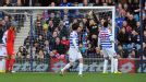 QPR goalkeeper Robert Green fails to keep out Dean Lewington's shot as MK Dons take the lead