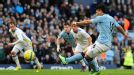 Sergio Aguero scores Manchester City's second goal in their FA Cup tie against Leeds
