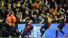 Barcelona celebrate after David Villa put them 3-2 up on aggregate against Milan