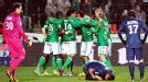 St Etienne celebrate Francois Clerc's equaliser against PSG