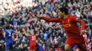 Luis Suarez celebrates his last-gasp equaliser against Chelsea