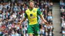 Anthony Pilkington celebrates after putting Norwich in front at Manchester City