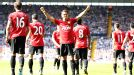 Javier Hernandez celebrates in front of the United fans after scoring the fifth at West Brom