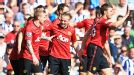 Man United celebrate Alexander Buttner's goal against West Brom