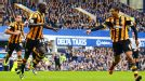 Curtis Davies points out goalscorer Yannick Sagbo after Hull City drew level at Everton.