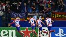 Atletico Madrid celebrate after Miranda gave them the lead against Austria Vienna.