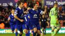 Leighton Baines scored from the spot in stoppage time to give Everton a 1-1 draw at Stoke.