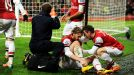 Nicklas Bendtner suffered an ankle injury in celebrating his goal against Cardiff City.