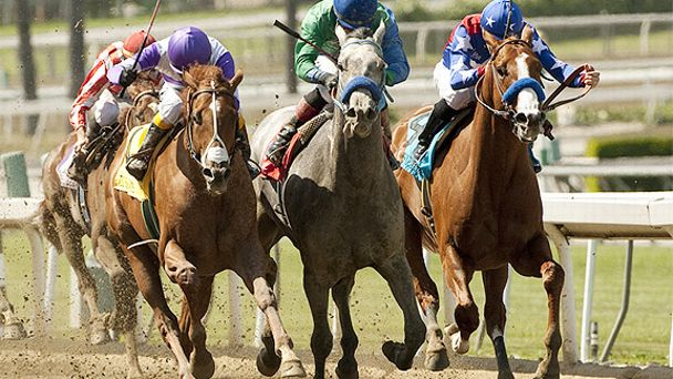 I'll Have Another (left) wins the 2012 Santa Anita Derby.