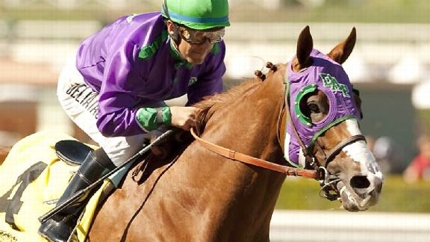 California Chrome takes the 2014 San Felipe Stakes.