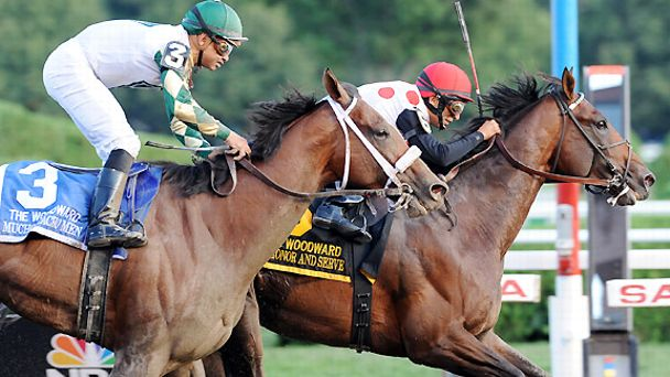 To Honor and Serve beats Mucho Macho Man to the wire in the 2012 Woodward Stakes.