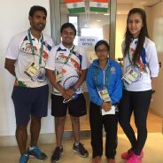 The Indian table tennis team of Sharath Kamal, Soumyajit Ghosh, Mouma Das and Manika Batra in Rio.