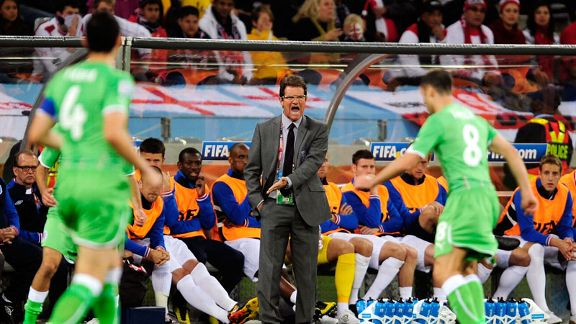 Fabio Capello shows his frustration against Algeria