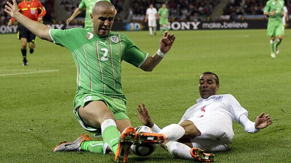 Madjid Bougherra clashes with Ashley Cole