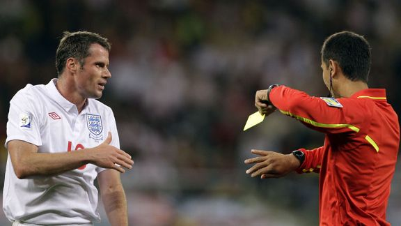 Jamie Carragher England v Algeria booking