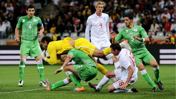 David James claims ball England vs Algeria