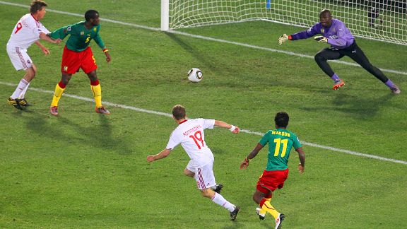 Dennis Rommedahl of Denmark scores his team's second goal during the 2010 FIFA World Cup.