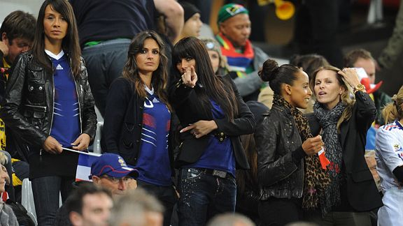 Assorted French WAGs gather before the country's game against Uruguay