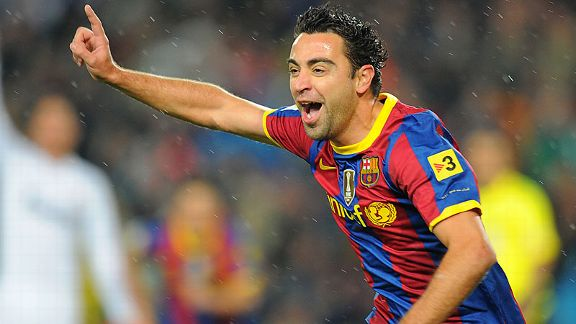Xavi celebrates his goal against Real Madrid
