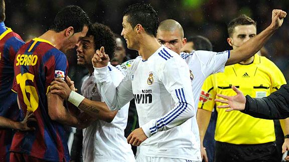 Cristiano Ronaldo sees the funny side of an on-field spat.