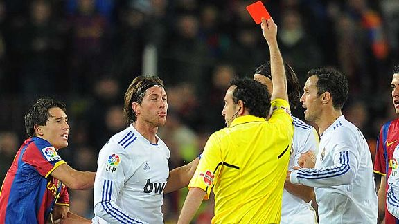 Sergio Ramos was dismissed for pushing Carles Puyol in the face