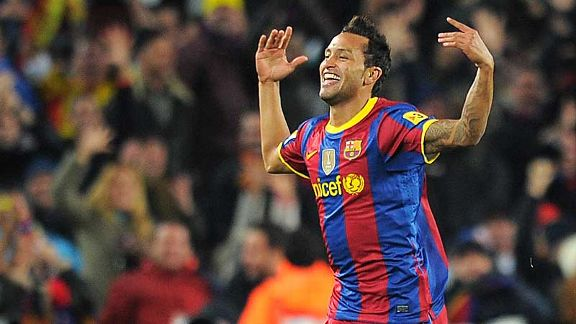 Jeffren celebrates Barcelona's fifth goal