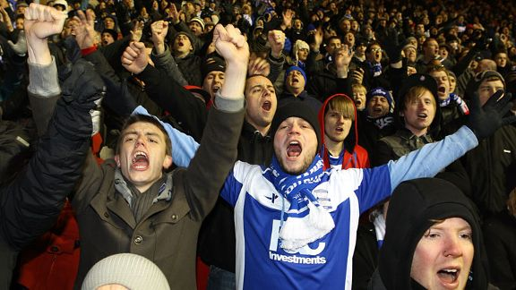 Birmingham fans celebrate as Birmingham take the lead