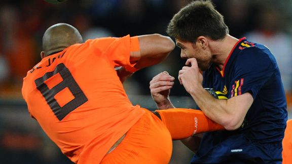 Nigel De Jong plants his boot in Xabi Alonso's chest during the World Cup final. He was booked