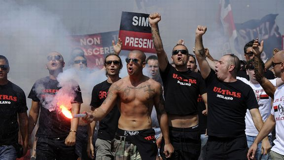 AC Milan's fans protest against club president Silvio Berlusconi in July after a perceived lack of investment