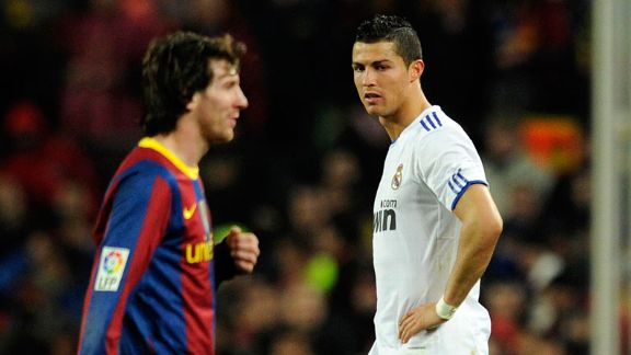 Cristiano Ronaldo and Lionel Messi during this season's El Clasico
