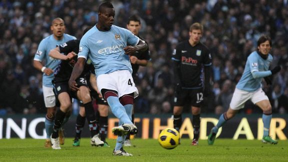 Mario Balotelli penalty man City v aston Villa