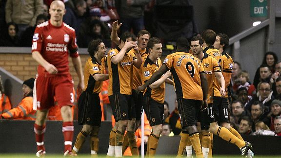 Wolves celebrate Stephen Ward's goal against Liverpool