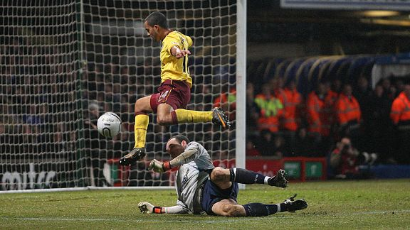 Theo Walcott is denied by Ipswich goalkeeper Marton Fulop