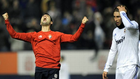 Ferran Corominas celebrates Osasuna's win over Real Madrid
