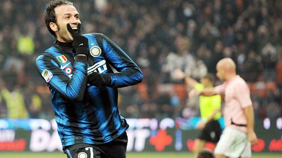 Giampaolo Pazzini celebrates one of his two debut goals for Inter Milan against Palermo