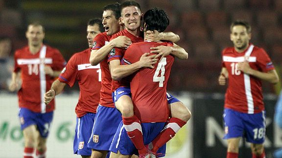 Zoran Tosic (c) was Serbia's matchwinner as they came from behind at home to Northern Ireland.