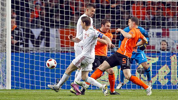 Zoltan Gera fires home in Hungary's thrilling 5-3 loss to the Netherlands.